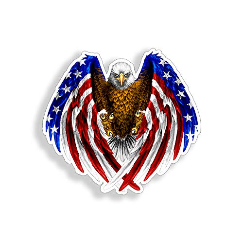 Mini Bald Eagle Sticker USA American Flag Graphic Cup Cooler Laptop Phone Vinyl Decal