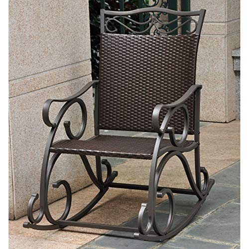 Rocker Wrought Scroll Iron - Stylish Resin Wicker Patio Rocking Chair Crafted with Ornate Wrought Iron Steel Frame, Weatherproof and UV Resistant Finish, Deep Seat, Wide Armrests, Steady Rocking Motion, Brown + Expert Home Guide