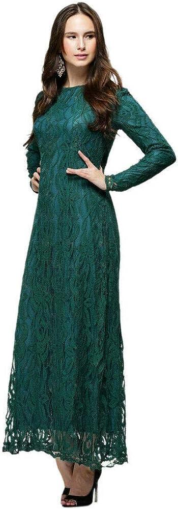 Meijunter Abito da Donna Musulmano Manica Lunga in Lino Allentato in Morbido Vestito Islamico Abaya Dubai Kaftan