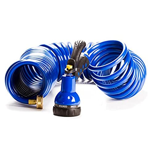 Expandable Hose Garden 50 Ft Nozzle Best Water Quick Flexible Blue Coil Hose With 7 Function Spray - Frog Garden Hose Holder