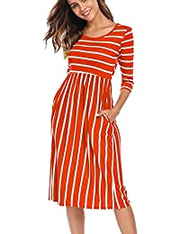 Women's 3 4 Sleeve Stripe Elastic Waist Casual Dress with...