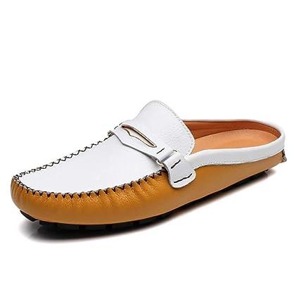 HhGold Mocasines de Cuero de Primavera/Verano para Hombre Zuecos y Mulas, Zapatos de