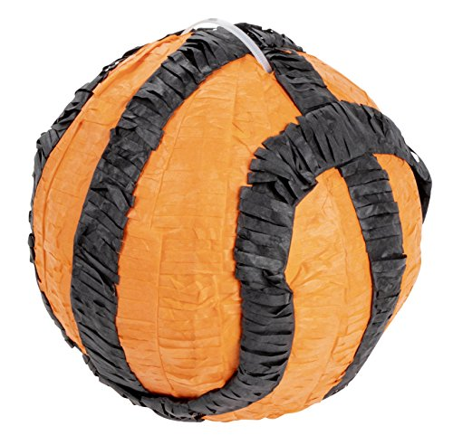 Basketball Pinata - Kids Birthday Party Supplies for Sports Themed Party, Ball Game, Black and Orange, 7.5 x 7.5 x 7.5 Inches