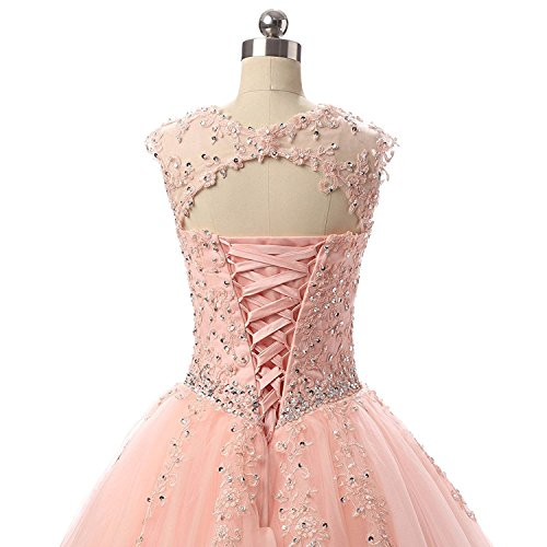 Meilishuo Women's Cap Sleeve Quinceanera Dresses Long Beading Appliques Prom Party Ball Gown Long 2017 by MEILISAY (Image #1)
