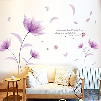 Reasoncool Modern Landscape Living Room Flat Window Sticker Wind Flowers Eco-Friendly Waterproof Purple Romantic Warm Bedroom Background Decorative Wall Stickers