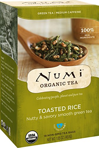 Numi Organic Tea Toasted Rice Sencha, 18 Bags, Organic Green Tea in Non-GMO Biodegradable Tea Bags, Premium Bagged Organic Green Tea, Organic Sencha with Toasted Rice