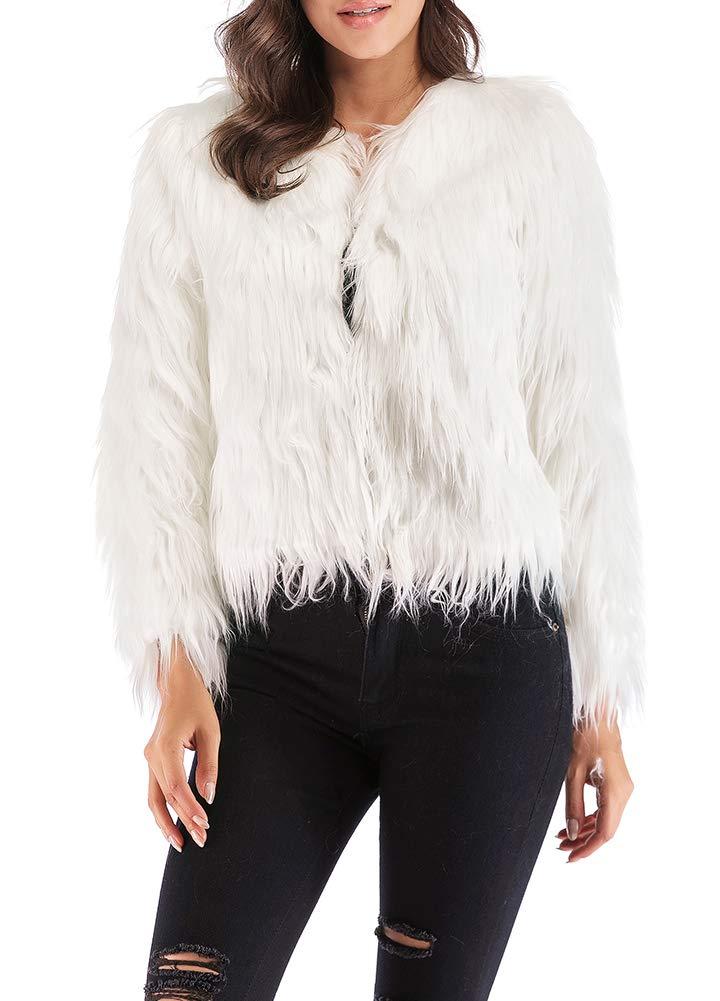 Anself Women's Shaggy Faux Fur Coat Solid Color Long Sleeve Short Jacket White