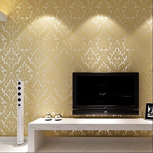 QIHANG European Vintage Luxury Damask Wall Paper PVC Embossed Textured Wallpaper Roll Home Decoration Beige Color