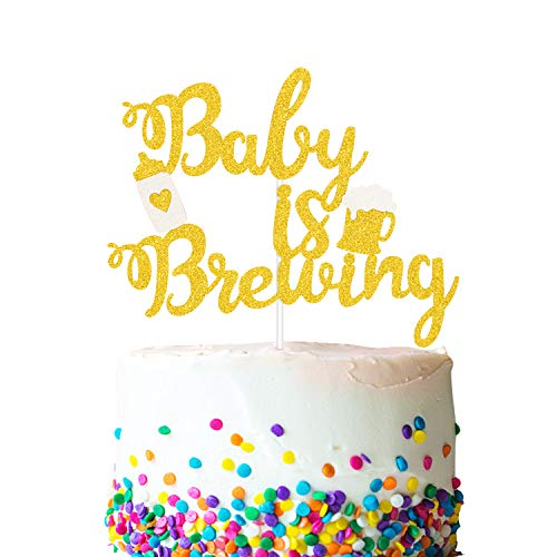 Baby is Brewing Cake Topper, Baby Shower Baby Sprinkle Cake Decorations, Gender Reveal Diaper Party Supplies, Beer & Baby Bottle Design for Boys or Girls, Double Sided Gold -