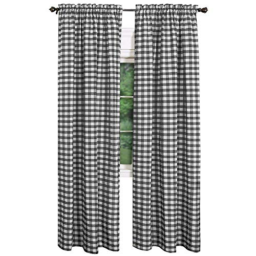 GoodGram Buffalo Check Plaid Gingham Custom Fit Window Curtain Treatments - Assorted Colors & Sizes (Black, Single 84 in. Panel) (Blackout Plaid Curtains)