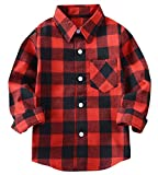 Welity Boys & Girls Long Sleeve Button Down Plaid Flannel Shirt