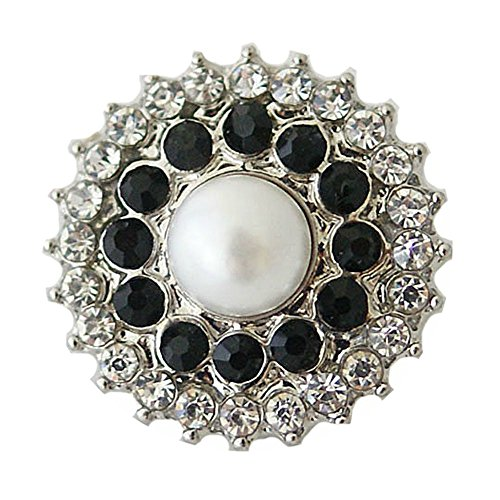 - Chunk Snap Charm Pearl Center Black and Clear Crystal Borders 20mm