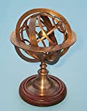 Medium Solid Brass Armillary Sphere