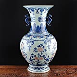 Blue and White Porcelain Binaural Vase (18.90'' × 8.66'' × 8.66'', blue and white 01)