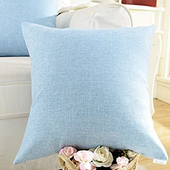 Home Brilliant Decoration Lined Linen Square Throw Pillowcase Cushion Cover for Sofa, Light Blue, 18 x 18