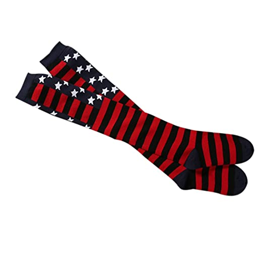 3956d3ae726 Uscharm Knee High Socks Women Thicken Thermal Stars Stripe Cute Tube Punk  Thigh Cheerleader Christmas Stockings