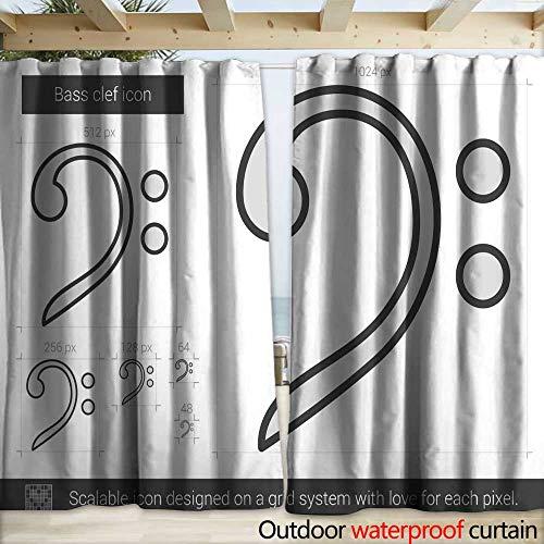 warmfamily Waterproof Sliding Door Curtains Bass Clef line icon Drapery W120 x ()