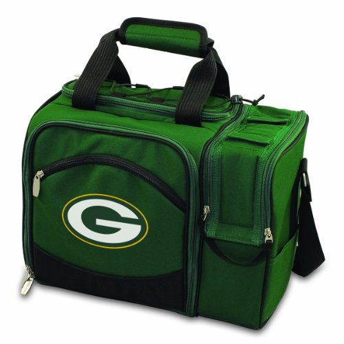 NFL Green Bay Packers Malibu Insulated Shoulder Pack with Deluxe Picnic Service for - Deluxe Time Picnic Beach Bag