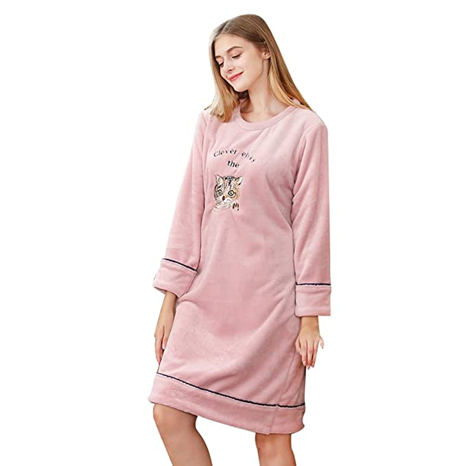 YiLianDa Mujer Pijama Kimono de Manga Larga Elegantes Suaves Ropa De Dormir Camisón Rosa