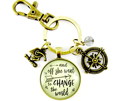 And Off She Went to Change the World Graduate Keychain Vintage Bronze Style Compass Tassel (Class Pet Ideas)