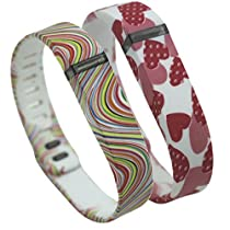 Chaomingzhen Replacement Bands Wireless Activity Bracelet Sport Wristband Accessory with Metal Clasps for Fitbit Flex Heart and multicolor Pattern White/ Women or Men 2 PCS Large