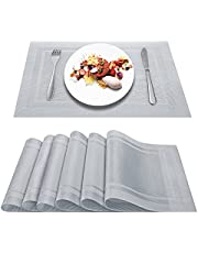 Artand Placemats, Heat-Resistant Placemats Stain Resistant Anti-Skid Washable PVC Table Mats Woven Vinyl Placemats, Set of 6