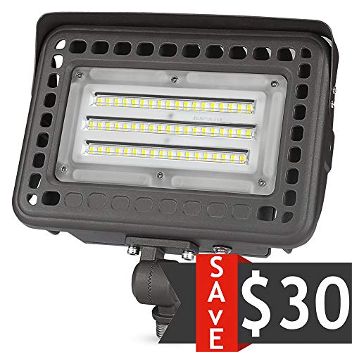 60W Knuckle-Mount LED Flood Light - 6500Lm Dusk to Dawn 5000K 175W MH Equal Outdoor LED Security Floodlights UL&DLC (Mount Led Light)