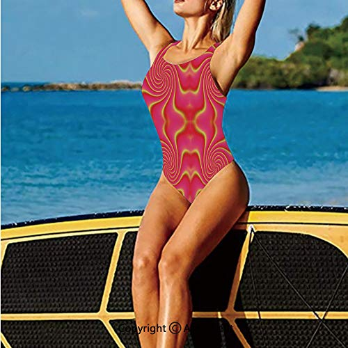 (Swimwear Low Back,Pop Art Produced Figural Expanding and,Women's Swimsuits)