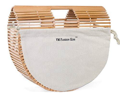 VM FASHION KISS Womens Bamboo Products Half Moon bag Bamboo Hollow Stitching Handbag Beach bag Ladies