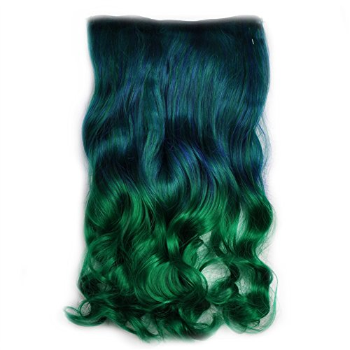 Stepupgirl 20 Inch Dark Blue to Grass Ombre Color Curly Full Head Synthetic Clip in Hair Extension with Souvenir Card