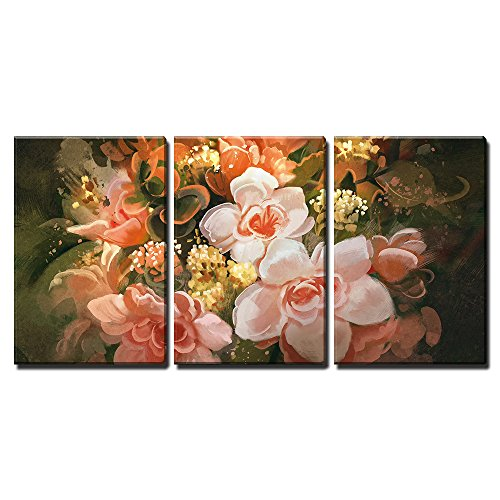 """Wall26 - 3 Piece Canvas Wall Art - Illustration - Beautiful Flowers,Color Blooming,Illustration,Digital Painting - Modern Home Decor Stretched and Framed Ready to Hang - 24\""""x36\""""x3 Panels"""