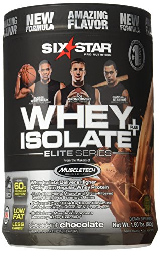 Six Star Whey Isolate Plus Protein Powder, 100% Whey Protein Isolate, Decadent Chocolate, 1.50 Pounds