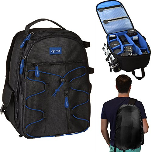 Canon Deluxe Backpack - Acuvar Professional DSLR Camera Backpack with Rain Cover for Canon, Nikon, Sony, Olympus, Samsung, Panasonic, Pentax Models.