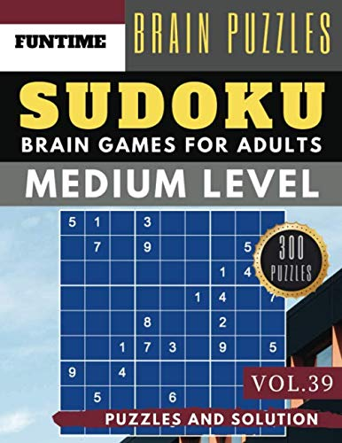 Sudoku Medium: Jumbo 300 SUDOKU medium puzzle books with answers brain games for adults Activity book (sudoku medium puzzle books Vol.39)