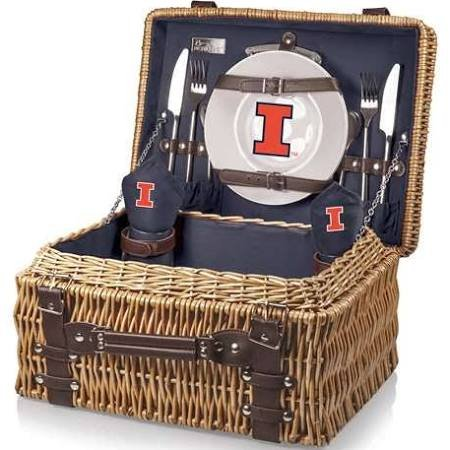NCAA Illinois Illini Champion Picnic Basket with Deluxe Service for Two, Navy