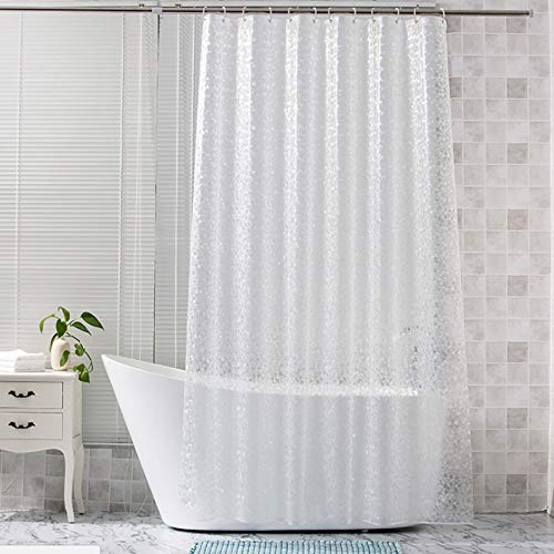 Glass Shower Curtains Shower Curtain Liner SGS Certified 100% Safety EVA Material Water Resistant with Hooks ABClife (71x71 inches) (Glass Shower Curtains)