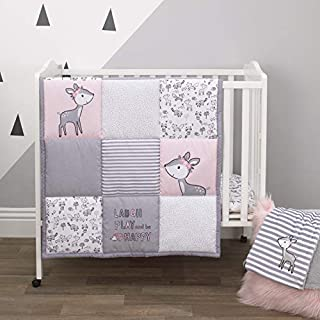Little Love By Nojo Sweet Deer, Grey, Pink, White 3Piece Nursery Mini Crib Bedding Set With Comforter, 2 Fitted Mini Crib Sheets, Pink, Grey, White, Charcoal