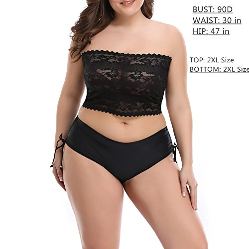 1306573b4db CENG MAU Women Plus Size Floral Lace Unlined Stretchy Strapless Bras Tube  Tops