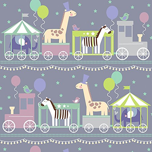 (Baby Animals Train Boy Girl Shower Gift Wrap Paper - 15 Foot)
