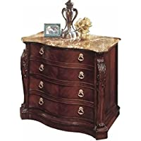 Bowery Hill 2 Drawer Marble Top Lateral File Cabinet in Cherry