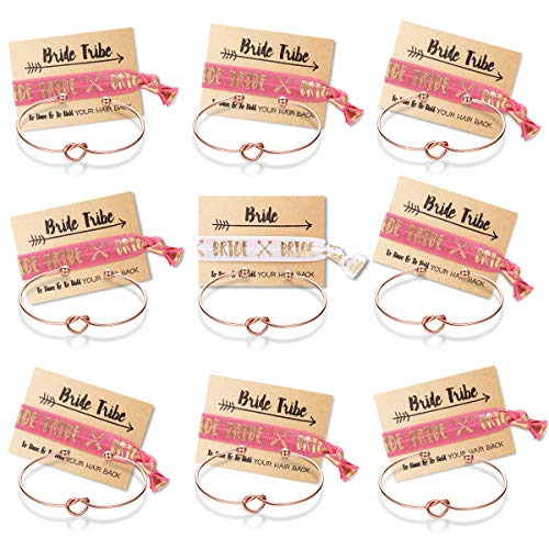 MOOKOO Bridemaid Love Knot Bracelets Set 9 Set Bride Tribe Hair Tie and Bracelets Bachelorette Party Supplies for Girls Women (#1)]()