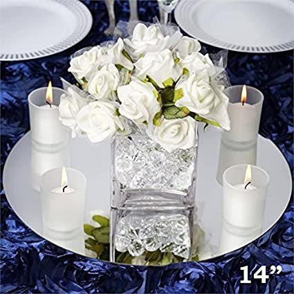 Amazon efavormart 14 round glass mirror wedding party table efavormart 14quot round glass mirror wedding party table decorations centerpieces junglespirit Image collections