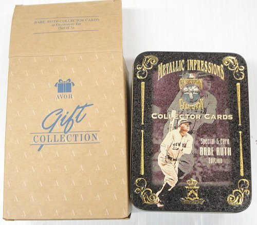 (Avon Metallic Impressions - Cooperstown Collection - 5 Embossed Metal Collector Cards - Babe Ruth)