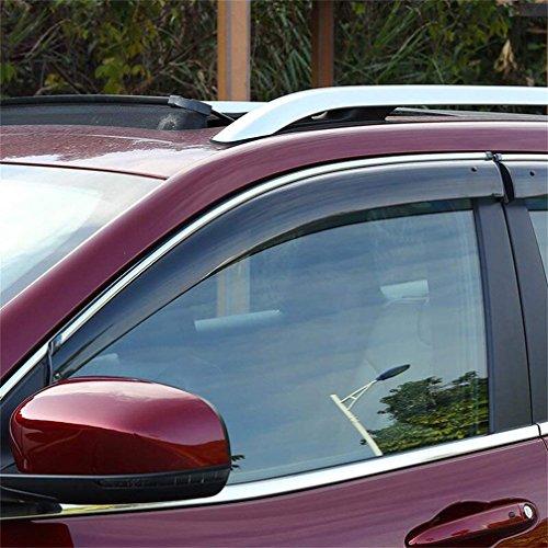 Vesul Updated Side Window Visor Rain Sun Deflectors Guard Vent Shade Smoke Gray Compatible with Jeep Cherokee 2014 2015 2016 2017 2018 - Guards Jeep Rain