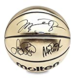 MICHAEL JORDAN, MAGIC JOHNSON, & LARRY BIRD Signed Molten Gold Trophy Basketball LE of 92 With Curve Display Case UDA.