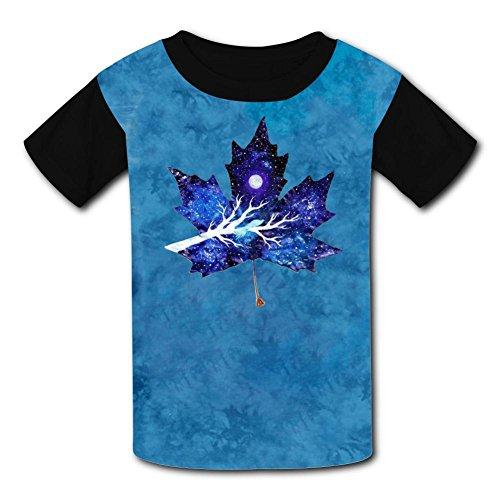 Crew Neck Polyester Fiber Soft Short Sleeve Top T-Shirts For Boy Girl,Print Maple Leaf Bird Space -