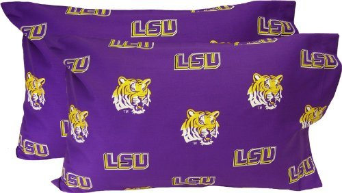 College Covers Louisiana State Tigers Pair of Solid Pillowcase, Standard