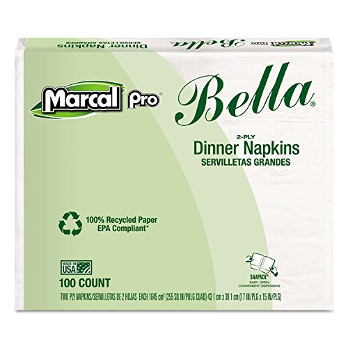 Marcal Pro Bella Dinner Napkins - 100% Recycled 2-Ply Paper Napkins 100 Per Pack, 30 Packs Per Carton - Folded Size 4.5'' x 7.5'' Made in The USA 06410