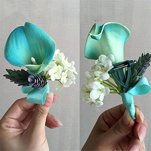 Tiffany Blue Pu Calla Lily Boutonniere Purple Wedding Corsage Groom Best Man Prom Party Quinceanera Graduation Floral 1 Piece Corsage1 1 Piece Corsage Cost