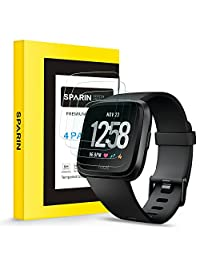 [4 Pack] Fitbit Versa Screen Protector, SPARIN Scratch Resistant Tempered Glass, 2.5D Round Edge/Bubble Free/Easy Install Screen Protector for Fitbit Versa